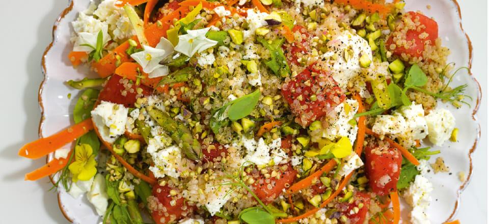 """""""Garden salad"""" med vandmelon og citrondressing"""